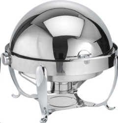 Rental store for 7 Qt. Round Silver Roll Top Chafing Dish in Ellsworth and Rockland ME
